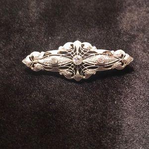 Antique Art Deco 14k & diamond bar brooch